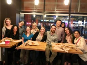 Strier lab and friends at dinner while in Chicago for the MPIG conference