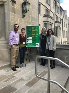 Part of the lab(left to right: Jacob Kraus, Irene Duch Latorre, Bekah Ellis, Ilianna Anise) stand in front of the welcome sign at the 2018 MPIG conference.