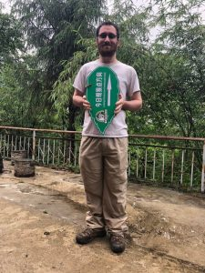 Jacob Kraus posing at a field station in Yunnan province, China.